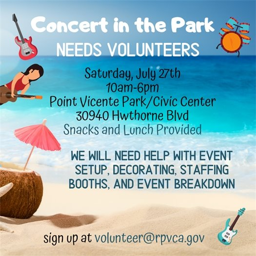 concert in the park volunteer opportunity