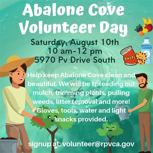 Abalone cove Volunteer day flyer 8.10.19