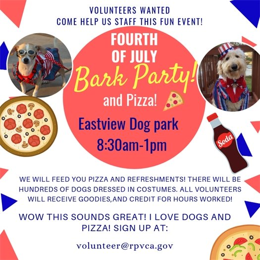 bark party volunteer flyer