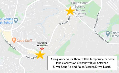 Upcoming Cal Water Work On Pv Dr North Pv Dr East And Crenshaw Blvd