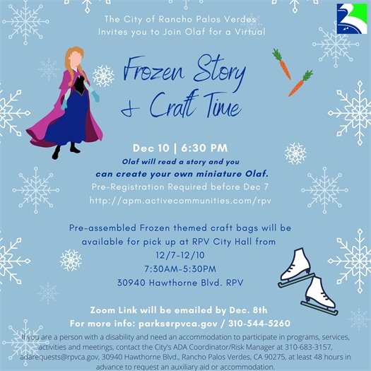 frozen storytime and craft flyer