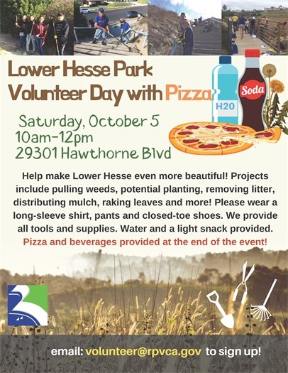 Lower Hesse Park Volunteer Day AND PIZZA