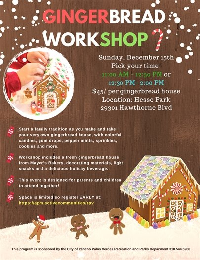 Gingerbread Workshop - 2 Sessions - Pick your time!
