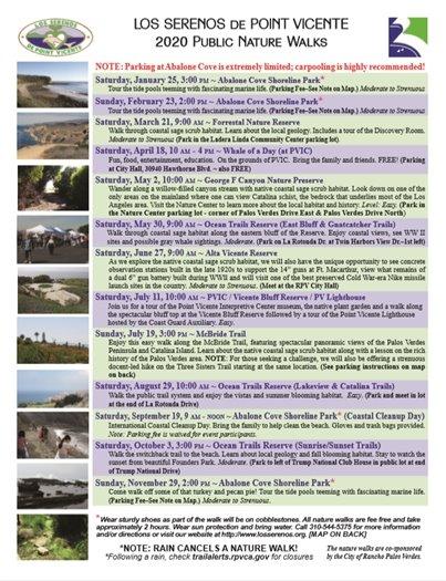 Los Serenos de Point Vicente - REVISED 2020 Hike Schedule