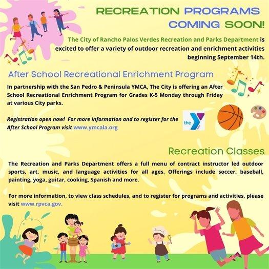 recreation programs coming soon