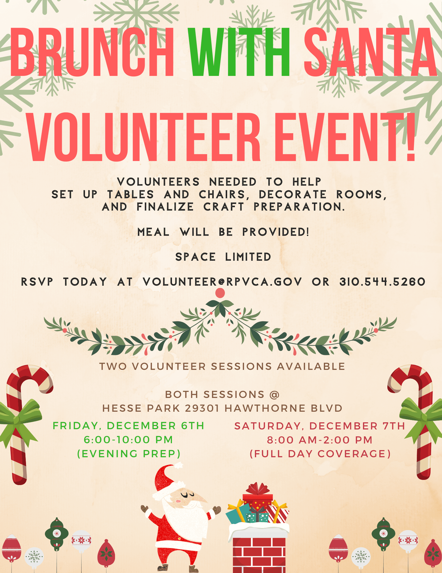 Brunch With Santa - Volunteer Event 12.6 and 12.7