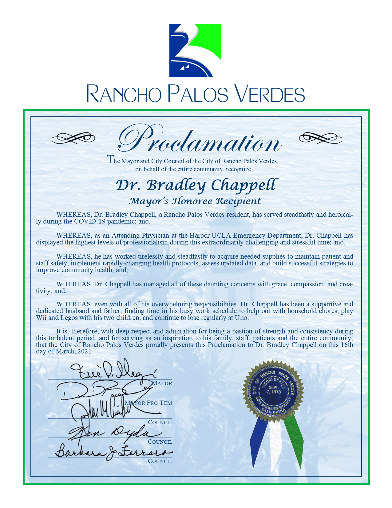Proclamation - Dr. Bradley Chappell