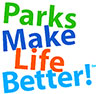 "Logo with text ""Parks Make Life Better!"""