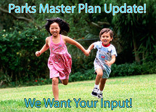 Girl in pink dress and boy in overall shorts running in grass with text: Parks Master Plan Update