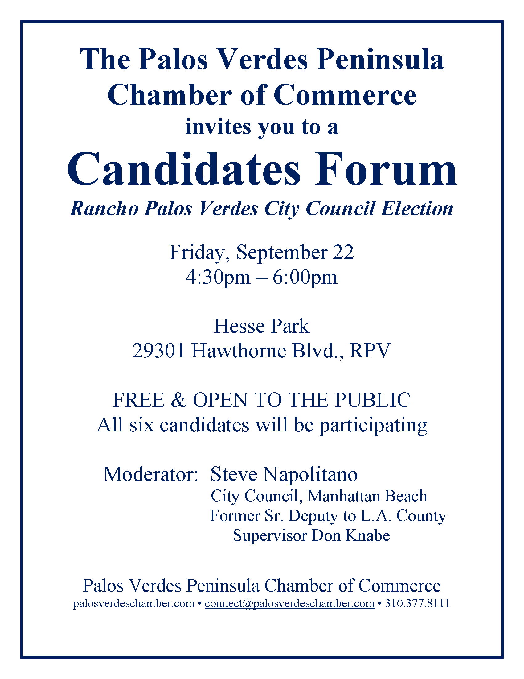 Candidates Forum RPV City Election FLYER