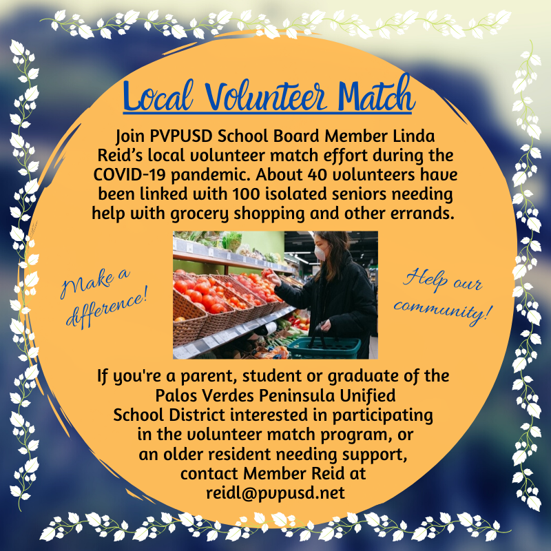 PVPUSD Local Volunteer Match -  COVID 19